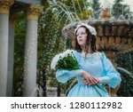 portrait girl with a bouquet of ...   Shutterstock . vector #1280112982