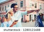beautiful young couple enjoying ... | Shutterstock . vector #1280121688