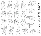 hand collection   vector line... | Shutterstock .eps vector #1280128498