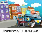 cartoon scene with police car... | Shutterstock . vector #1280138935