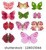 Fantasy butterfly collection with rose wings, made of various, studio photographed, rose parts, forming unique wings, isolated on white