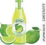bottle of lemon juice and fresh ... | Shutterstock .eps vector #1280156575