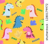 cute dinosaurs hand drawn color ... | Shutterstock .eps vector #1280179972