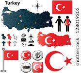 vector of turkey set with... | Shutterstock .eps vector #128019302