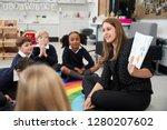 primary school children sitting ... | Shutterstock . vector #1280207602