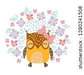 owls with flowers vector | Shutterstock .eps vector #1280241508