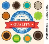 Set of blank retro vintage badges and labels.eps10 - stock vector
