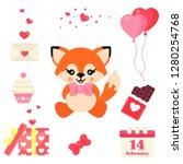 cartoon cute fox with tie...   Shutterstock .eps vector #1280254768