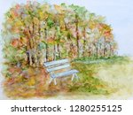 autumn forest with white bench | Shutterstock . vector #1280255125