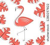 tropical vector with falmingo... | Shutterstock .eps vector #1280257822