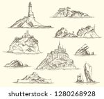 Vector Set Of Island Sketches...