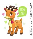 little cute cartoon deer... | Shutterstock .eps vector #1280272642