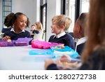 primary school kids sitting at... | Shutterstock . vector #1280272738