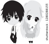 cute chibi anime couples  ... | Shutterstock .eps vector #1280288155
