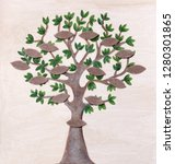 family tree with blank tags | Shutterstock . vector #1280301865