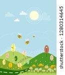 cute cartoon landscape of sring ...   Shutterstock .eps vector #1280314645