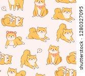 kawaii shiba inu dogs in...   Shutterstock .eps vector #1280327095