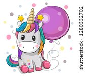 greeting card cute cartoon... | Shutterstock .eps vector #1280332702