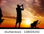 Silhouette Of A Golfer  Man...