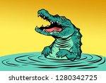 green crocodile character.... | Shutterstock .eps vector #1280342725