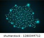 romania country map polygonal... | Shutterstock .eps vector #1280349712