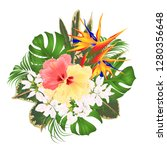 bouquet with tropical flowers ... | Shutterstock .eps vector #1280356648