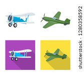 isolated object of plane and... | Shutterstock .eps vector #1280358592