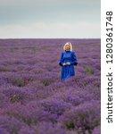 young girl in blue dress ... | Shutterstock . vector #1280361748