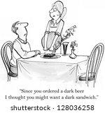 """since you ordered a dark beer... | Shutterstock . vector #128036258"