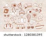 travel doodles in vintage style   Shutterstock .eps vector #1280381395