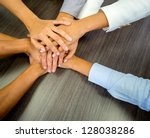 business team in a meeting with ... | Shutterstock . vector #128038286