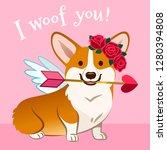 Valentine's Day Corgi Dog Card. ...