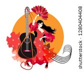 flamenco logotype. young... | Shutterstock .eps vector #1280404408