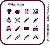 writer icon set. 16 filled...   Shutterstock .eps vector #1280405332