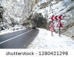 car traffic in winter on bicaz...   Shutterstock . vector #1280421298