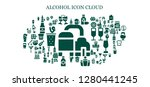 alcohol icon set. 93 filled... | Shutterstock .eps vector #1280441245