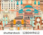 istanbul city colorful vector... | Shutterstock .eps vector #1280449612