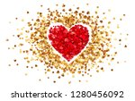 purple heart in frame of little ... | Shutterstock .eps vector #1280456092