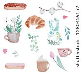 watercolor illustration set of... | Shutterstock . vector #1280456152