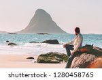 man relaxing alone on ocean... | Shutterstock . vector #1280458765