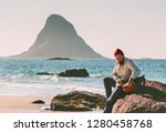 man with backpack relaxing on... | Shutterstock . vector #1280458768