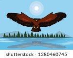 imposing hawk bird flying in... | Shutterstock .eps vector #1280460745