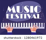 hands playing piano classical... | Shutterstock .eps vector #1280461972