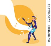 rocker man playing electric... | Shutterstock .eps vector #1280461978