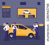 car in maintenance workshop... | Shutterstock .eps vector #1280463748