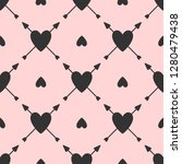 repeating hearts with arrows.... | Shutterstock .eps vector #1280479438