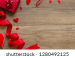 overhead flat lay valentine day ... | Shutterstock . vector #1280492125