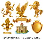 Stock vector lion horse eagle lily golden heraldic elements d vector icon set 1280494258