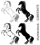 Stock vector set of rearing horse illustrations in different techniques 128053475