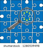 blue puzzle with eu flag and... | Shutterstock . vector #1280539498